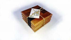 Set of Four Mixed Hardwood End Grain Coasters
